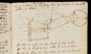 Original manuscript by Sir Isaac Newton, one of several by the English physicist to be made available on the web. Photograph: Cambridge University Library/PA