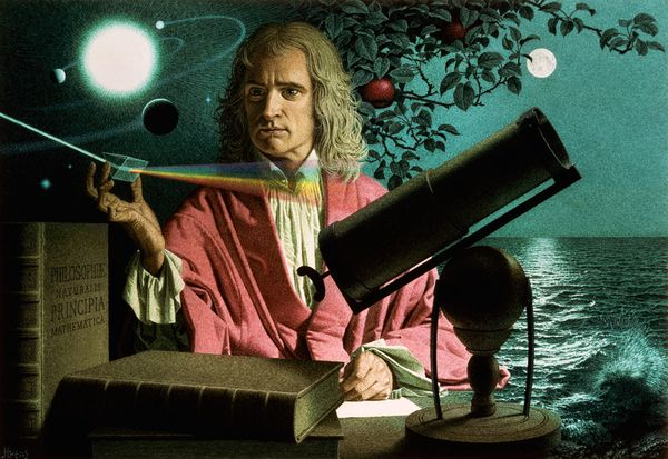 Sir Isaac Newton with some of his most famous discoveries and inventions