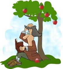 Isaac Newton apple cartoon