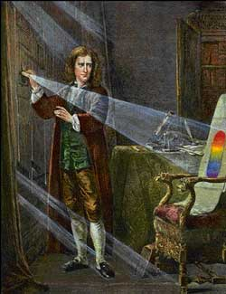Newton's work with optics - the study of light